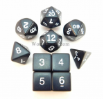 KOP10053 Black Opaque Dice With White Numbers Set 10pc Dice