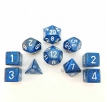 KOP09977 Stealth Elemental Dice With White Numbers Set 10pc Dice