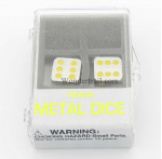 KOP18642 Metal Dice D6 Silver With Yellow Pips 15mm Set Of 2 Koplow Games