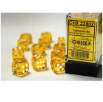 CHX23602 Yellow Translucent D6 Dice with White Pips 16mm Pack of 12