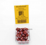 WONGM111 Red with White Swirl 16mm Glass Marbles Pack of 20