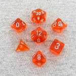 CHX23003 Orange Translucent Dice Set of 7 White Numbers 16mm