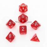 CHX23004 Red Translucent Dice Set of 7 with White Numbers 16mm
