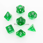 CHX23005 Green Translucent Dice Set of 7 with White Numbers 16mm