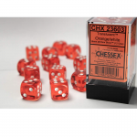CHX23603 Orange Translucent D6 Dice White Pips 16mm Pack of 12
