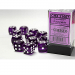 CHX23607 Purple Translucent D6 Dice White Pips 16mm Pack of 12
