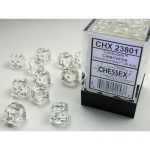 CHX23801 Clear Translucent D6 Dice White Pips 12mm Pack of 36