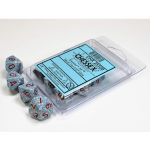 CHX25100 Air Speckled D10 Dice Red Numbers 16mm Pack of 10