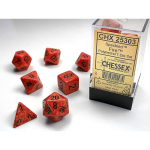 CHX25303 Fire Speckled Dice Black Numbers 16mm Set of 7