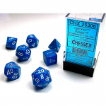 CHX25306 Water Speckled Dice White Numbers 16mm Set of 7