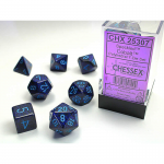 CHX25307 Cobalt Speckled Dice Blue Numbers 16mm Set of 7