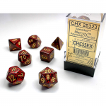 CHX25323 Mercury Speckled Dice Yellow Numbers 16mm (5/8in) Set of 7
