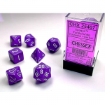 CHX25407 Purple Opaque Dice White Numbers 16mm Set of 7