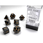 CHX25428 Black Opaque Dice Gold Numbers 16mm Set of 7