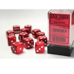 CHX25604 Red Opaque D6 Dice White Pips 16mm Pack of 12