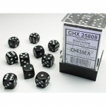 CHX25808 Black Opaque D6 Dice with White Pips 12mm (1/2in) Pack of 36