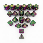 CHXLE827 Green Purple Gemini Dice Gold Numbers 16mm (5/8in) Pack of 20