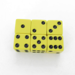 KOP08119 Yellow Opaque Dice Black Pips D6 16mm (5/8in) Pack of 6 Koplow
