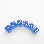 KOP08970 Blue Translucent Dice with White Pips D6 16mm (5/8in) Pack of 6