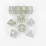 KOP10026 Clear Glitter Dice with White Numbers 16mm (5/8in) Set of 10