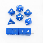 KOP10054 Blue Opaque Dice with White Numbers 16mm (5/8in) Set of 10
