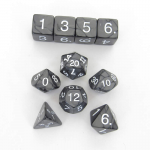 KOP10073 Charcoal Pearlized Dice White Numbers 16mm (5/8in) Set of 10