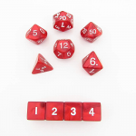 KOP10078 Red Pearlized Dice with White Numbers 16mm (5/8in) Set of 10