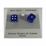 KOP01263 Blue Transparent with White Pips Stud Earrings 10mm (3/8in) Six Sided (d6) Koplow Games