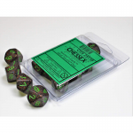 CHX25110 Earth Speckled D10 Dice Green Numbers 16mm Pack of 10