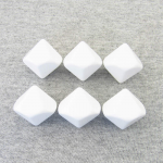 KOP01411 White Opaque Blank 10 Sided Dice(D10) 25mm (1in) Set of 6