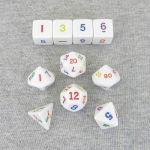 KOP16791 Rainbow Dice White Opaque Dice with Colored Numbers 16mm (5/8in) Set of 10 Koplow Games