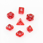 CHX23054 Red Transparent Mini Dice White Numbers 10mm Set of 7