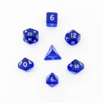 CHX23056 Blue Transparent Mini Dice White Numbers 10mm Set of 7