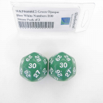 WKP06008E2 Green Opaque Dice White Numbers D30 30mm Pack of 2