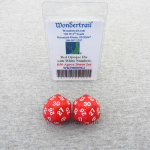 WKP06009E2 Red Opaque Dice White Numbers D30 30mm (1.18in) Pack of 2