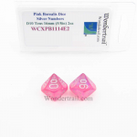 WCXPB1114E2 Pink Borealis Dice with Silver Numbers D10 Tens Aprox 16mm (5/8in) Pack of 2 Wondertrail