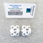 WKP11793E2 White Opaque Dice Black Numbers D24 24mm Pack of 2