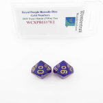 WCXPB1117E2 Royal Purple Borealis Dice with Gold Numbers D10 Tens Aprox 16mm (5/8in) Pack of 2 Wondertrail
