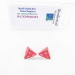 WCXPF0404E2 Red Frosted Dice with White Numbers D4 Aprox 16mm (5/8in) Pack of 2 Wondertrail