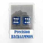 KOP00010 Blue Transparent D6 Backgammon Dice  White Pips 16mm Pack of 2