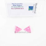 WCXPF0414E2 Pink Frosted Dice White Numbers D4 16mm (5/8in) Pack of 2