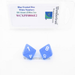 WCXPF0806E2 Blue Frosted Dice with White Numbers D8 Aprox 16mm (5/8in) Pack of 2 Wondertrail