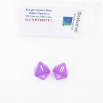 WCXPF0807E2 Purple Frosted Dice White Numbers D8 16mm Pack of 2