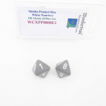 WCXPF0808E2 Smoke Frosted Dice White Numbers D8 16mm Pack of 2