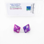 WCXPF0857E2 Violet Festive Dice White Numbers D8 16mm Pack of 2
