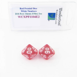 WCXPF1104E2 Red Frosted Dice with White Numbers D10 Perc Aprox 16mm (5/8in) Pack of 2 Wondertrail