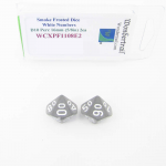 WCXPF1108E2 Smoke Frosted Dice with White Numbers D10 Perc Aprox 16mm (5/8in) Pack of 2 Wondertrail