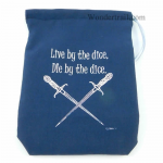 GHGCB1026 Live Or Die By The Dice Bag 7inx5in Drawstring Gallant Hands Gamers Gear