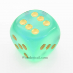 CHXDB3025 Light Green Borealis Die With Gold Pips D6 30mm Chessex