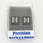 KOP08933 Black Opaque Precision Dice White Pips D6 16mm Pack of 2